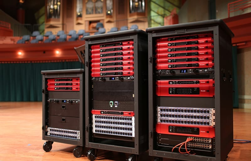 A portion of the University of North Texas College of Music's arsenal of Focusrite RedNet devices, pictured in the Murchison Performing Arts Center, one of their main performance spaces.