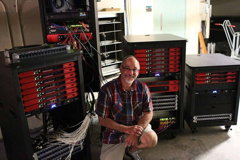 Audio DAWg principal Spunky Brunone, pictured with the RedNet units he spec'ed for the University of North Texas College of Music.